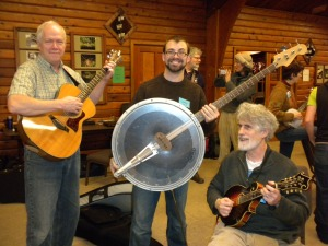 bass banjo, guitar and mandolin players